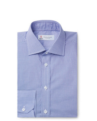 Turnbull & Asser Navy Slim Fit Cutaway Collar Micro Gingham Cotton Poplin Shirt