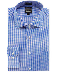 Neiman Marcus Non Iron Trim Fit Gingham Dress Shirt Blue