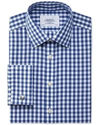 Charles Tyrwhitt Slim Fit Non Iron Gingham Navy Shirt