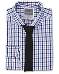 Thomas Dean Co Bold Multi Gingham Non Iron Ls Woven Dress Shirt W Spread Collar
