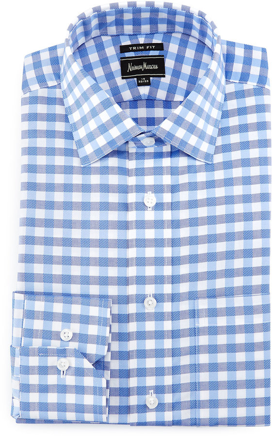 Neiman Marcus Trim Fit Large Gingham Dress Shirt Light Blue ...