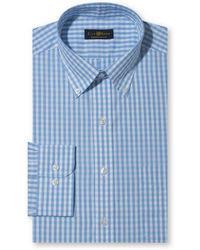 Club Room Wrinkle Resistant Blue Tonal Gingham Dress Shirt