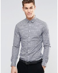 Asos Brand Skinny Shirt In Navy Double Gingham Check With Long Sleeves