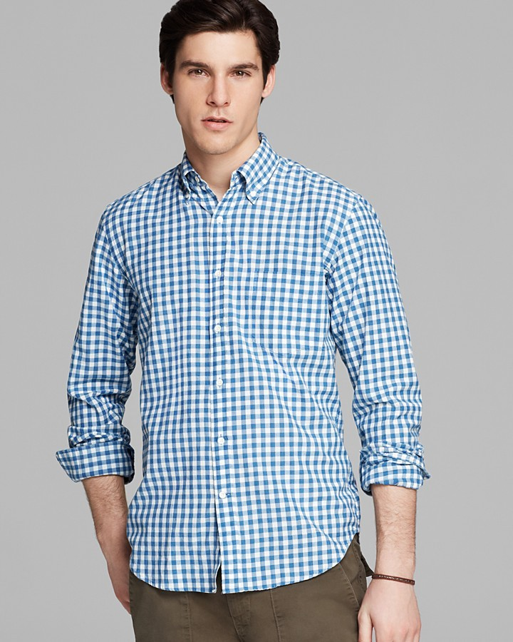 Gant rugger madras gingham check button down shirt slim for Slim fit gingham check shirt