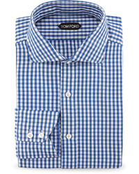 Tom Ford Gingham Button Down Shirt Bright Blue