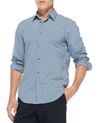Vince Gingham Check Button Down Shirt Blue