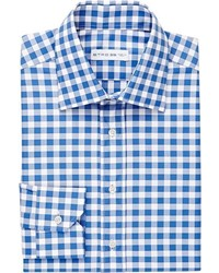 Etro Gingham Checked Dress Shirt Blue