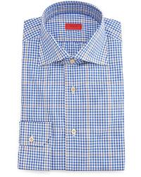 Isaia Gingham Windowpane Dress Shirt Blue