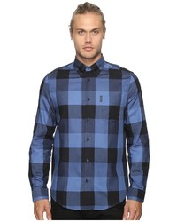 Ben Sherman Long Sleeve Textured Oversized Gingham Woven Shirt Long Sleeve Button Up