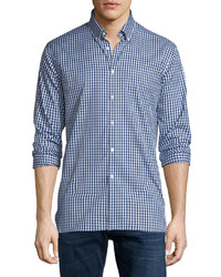 Matlock gingham long sleeve sport shirt bright navy medium 655161