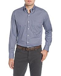 Peter Millar Regular Fit Stretch Cotton Silk Check Sport Shirt