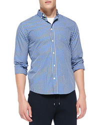 Vince Two Tone Gingham Check Shirt Bluewhite