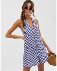 ASOS DESIGN Halter Playsuit With Button Detail In Self Stripe In Gingham Print