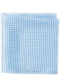 Bristol Bull Light Blue Gingham Silk Pocket Square