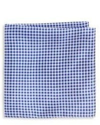 Saks Fifth Avenue Gingham Check Silk Pocket Square