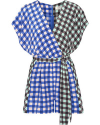 Diane von Furstenberg Wrap Effect Gingham Silk Crepe De Chine Playsuit Blue