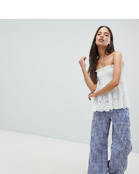 Blue Gingham Wide Leg Pants