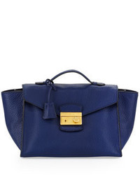 Prada Daino Twin Pocket Satchel Bag Blue