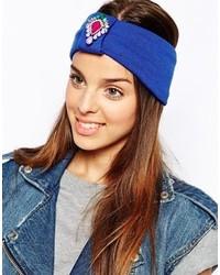 Johnny Loves Rosie Jewelled Front Turban Headband Blue