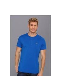 Lacoste Short Sleeve Pima Cotton Henley T Shirt T Shirt Gipsy Blue