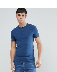 ASOS DESIGN Tall Muscle Fit T Shirt With Grandad Neck In Blue