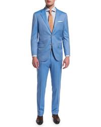 Kiton Two Piece Herringbone 170s Wool Suit Light Blue