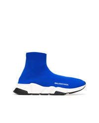 Balenciaga Blue And White Speed Sock Sneakers