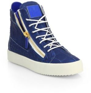 3d6623c6ad3d2 ... Saks Fifth Avenue › Giuseppe Zanotti › Blue High Top Sneakers Giuseppe  Zanotti Croc Embossed Leather High Top Sneakers ...