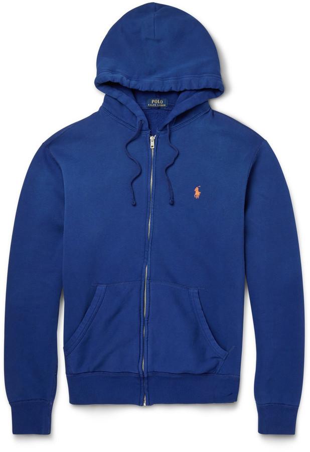 Men\u0027s Fashion \u203a Sweaters \u203a Hoodies \u203a Blue Hoodies Polo Ralph Lauren Zip  Through Cotton Blend Fleece Hoodie ...