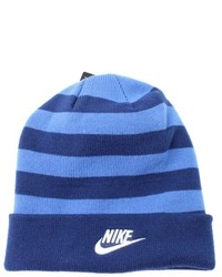 Nike Coastal Navy Blue One Size Colorblock Striped Beanie Hat