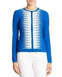 St. John Striped Button Front Cardigan