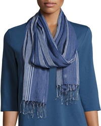Hand loomed striped organic cotton scarf denim medium 4356343