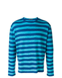 Blue Horizontal Striped Crew-neck Sweater