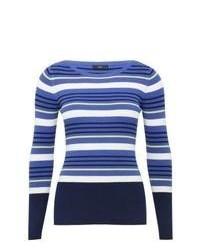 M&Co Long Sleeve Blue Striped V Neck Jumper Midnight Blue 18
