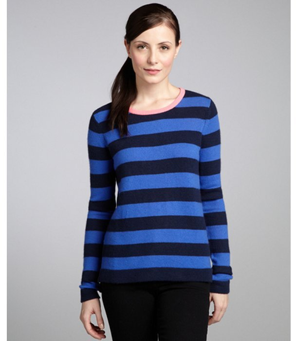 Hayden Navy Royal Blue Stripe And Neon Flamingo Colorblock ...