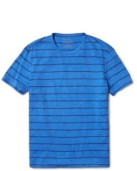 Blue Horizontal Striped Crew-neck T-shirt