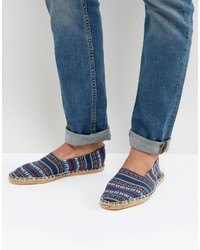 Asos Slip On Espadrilles In Navy Stripe