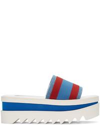 Stella McCartney Red And Blue Striped Flatform Sandals