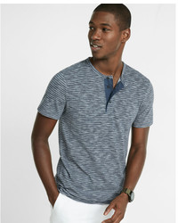 Express Striped Short Sleeve Henley