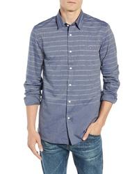 Lacoste Slim Fit Wrinkle Free Stripe Poplin Sport Shirt
