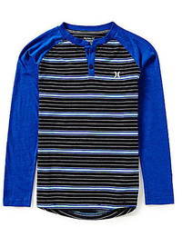 Hurley Big Boys 8 20 Striped Long Sleeve Thermal Henley Tee