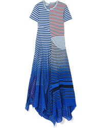 Loewe Tiered Striped Broderie Med Cotton Jersey Midi Dress