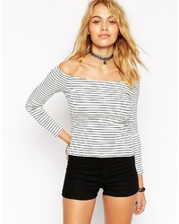 Asos Top With Off Shoulder In Stripe Rib