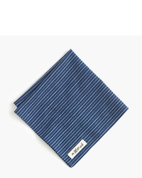 Selvedge chambray pocket square in double stripe medium 956865