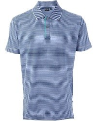 Blue Horizontal Striped Polo
