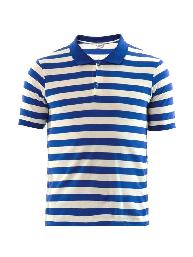 460149a4 Saint Laurent Striped Cotton Polo Shirt, $232 | MATCHESFASHION.COM ...