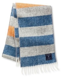 Faribault For Targettm Stripe Wool Scarf Heather Grey And Blue With Orange Accent