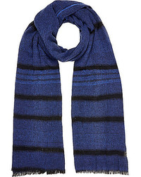 River Island Navy Stripe Lightweight Scarf