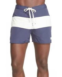 Blue Horizontal Striped Shorts