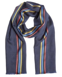 Paul Smith Central Stripe Wool Silk Scarf